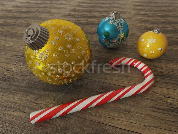 3d niebieski złota wakacje dekoracji cukier trzcinowy Zdjęcia stock © danilo_vuletic