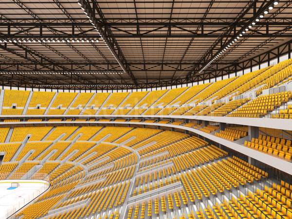 Beautiful sports arena for ice hockey with yellow seats  and VIP boxes Stock photo © danilo_vuletic