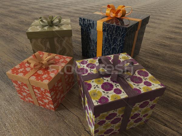 3d render vakantie presenteert houten geschenken Stockfoto © danilo_vuletic