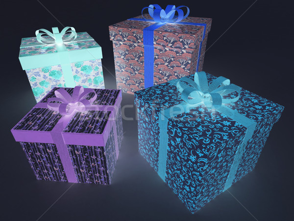 3D render of a multicolor glowing fluorescent wrapped holiday presents Stock photo © danilo_vuletic