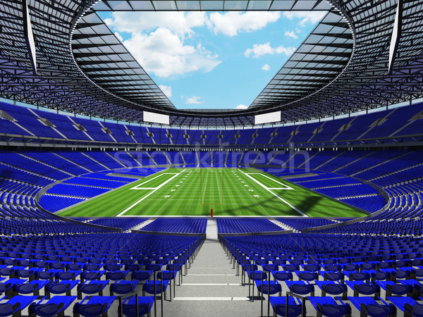 Round american football stadium with blue seats for hundred thousand fans with VIP boxes Stock photo © danilo_vuletic
