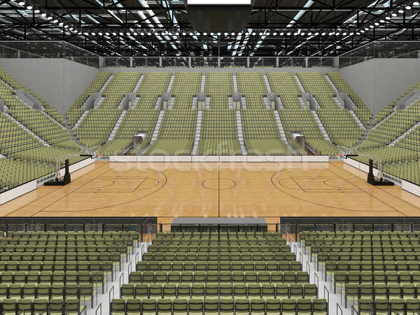 Beautiful modern sports arena for basketball with olive green grey seats and VIP boxes for ten thous Stock photo © danilo_vuletic