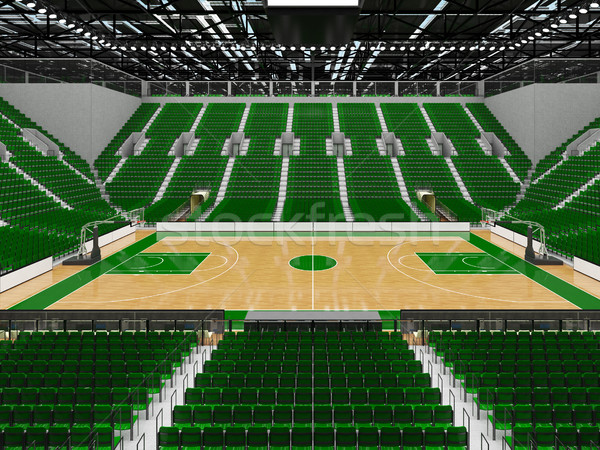 Beautiful sports arena for basketball with green seats and VIP boxes Stock photo © danilo_vuletic