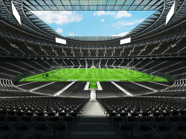 3D render of a round rugby stadium with  black seats and VIP box Stock photo © danilo_vuletic