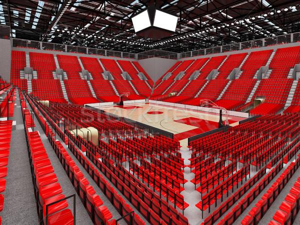 3d render gyönyörű sportok aréna kosárlabda piros Stock fotó © danilo_vuletic