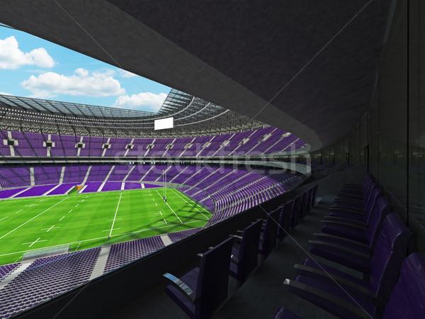 3dのレンダリング ラグビー スタジアム 紫色 vip ボックス ストックフォト © danilo_vuletic