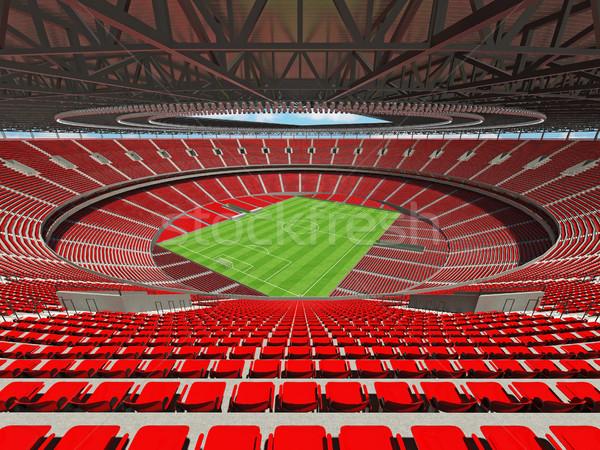 3d визуализации футбола Футбол стадион красный vip Сток-фото © danilo_vuletic