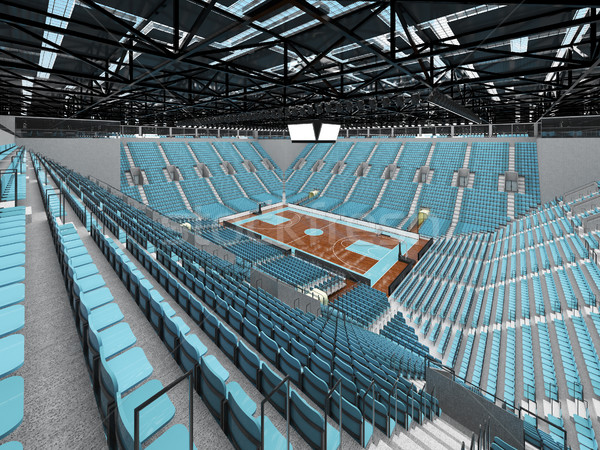Beautiful modern sports arena for basketball with sky blue seats and VIP boxes for ten thousand fans Stock photo © danilo_vuletic