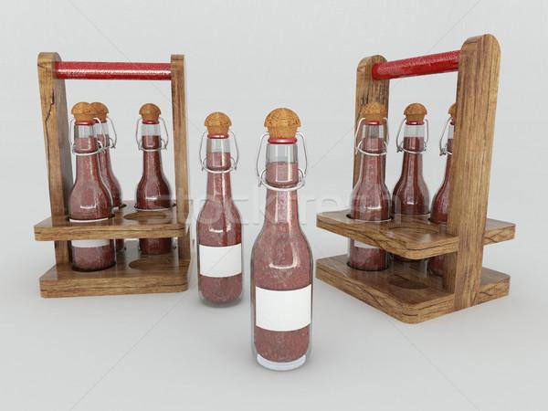 3d визуализации чили соус стекла бутылок белый Сток-фото © danilo_vuletic