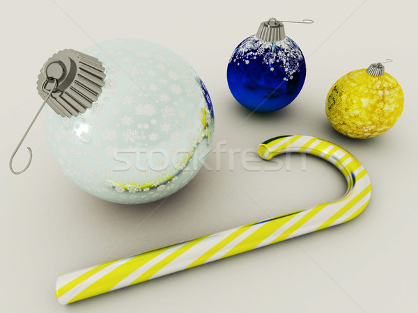 3D render of blue and gold holiday decoration baubles with glass candy cane on white background Stock photo © danilo_vuletic