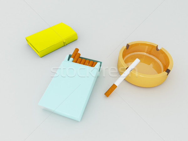 3D render of a blue pack of cigarettes, golden lighter and orange ashtray on white background Stock photo © danilo_vuletic