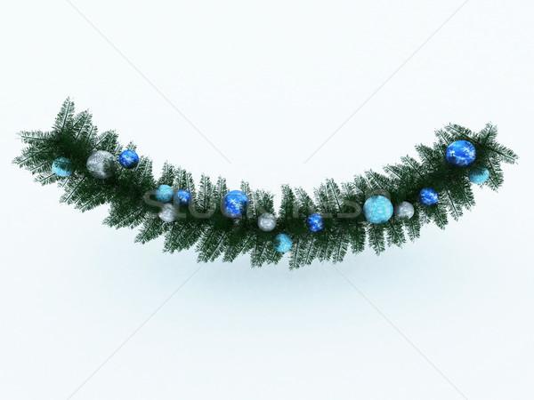 3d визуализации красивой праздник синий украшения венок Сток-фото © danilo_vuletic