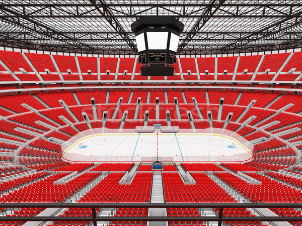 Beautiful sports arena for ice hockey with red seats  and VIP boxes  Stock photo © danilo_vuletic