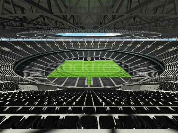 3D render of a round football -  soccer stadium with  black seats Stock photo © danilo_vuletic