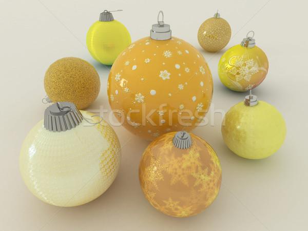 3dのレンダリング 黄色 金 休日 装飾 クラスタ ストックフォト © danilo_vuletic