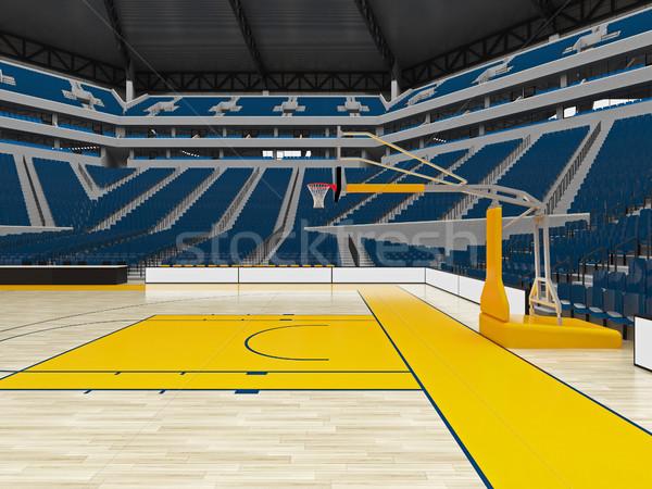 美しい 現代 スポーツ アリーナ バスケットボール 青 ストックフォト © danilo_vuletic
