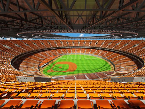3d render baseball stadion narancs vip dobozok Stock fotó © danilo_vuletic