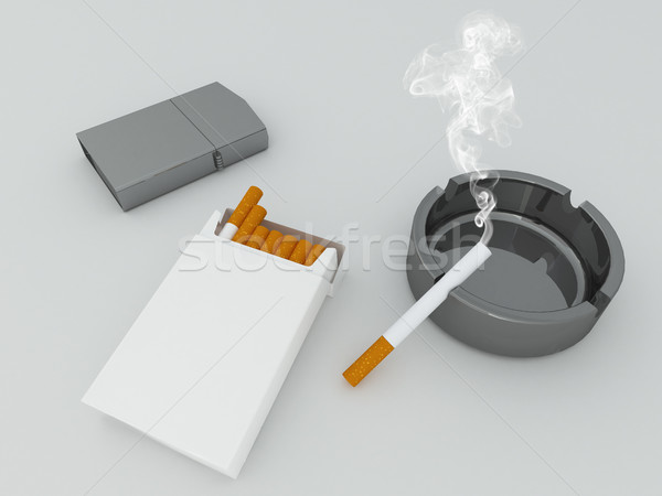 3D render of a white pack of cigarettes, silver lighter and black ashtray on white background Stock photo © danilo_vuletic