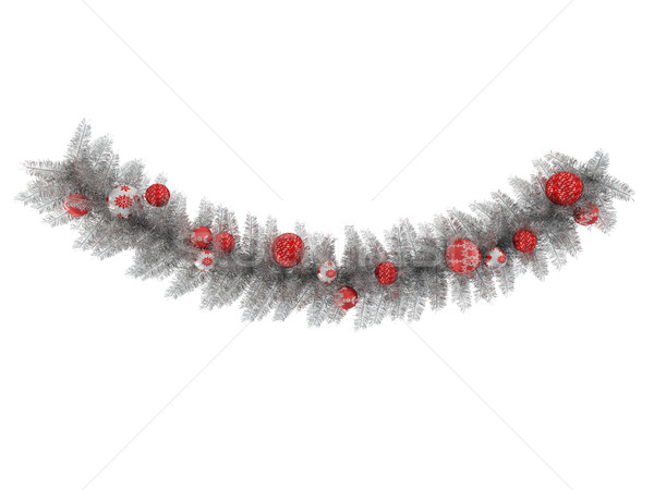 3dのレンダリング 美しい 銀 クリスマス 花輪 装飾 ストックフォト © danilo_vuletic
