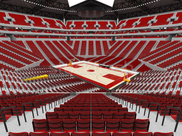 Beautiful modern sport arena for basketball with red seats Stock photo © danilo_vuletic