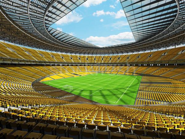 3d render voetbal voetbal stadion Geel vip Stockfoto © danilo_vuletic