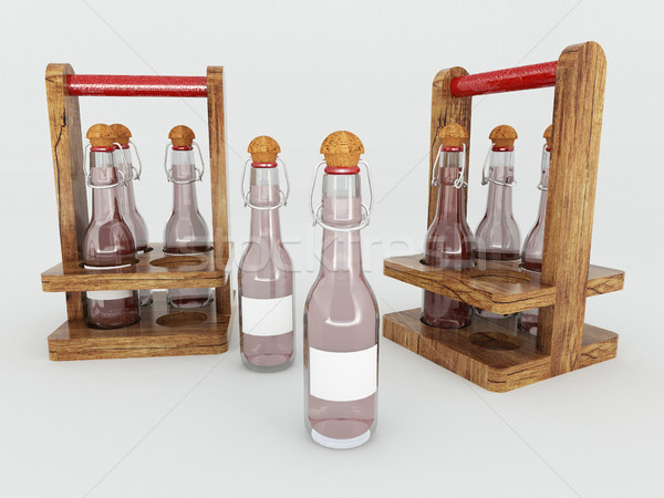 3d vinagre vidrio botellas blanco alimentos Foto stock © danilo_vuletic