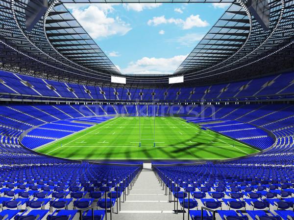 3d render rögbi stadion kék vip dobozok Stock fotó © danilo_vuletic