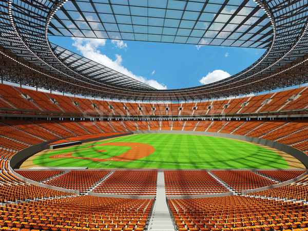 3D render of baseball stadium with orange seats and VIP boxes Stock photo © danilo_vuletic