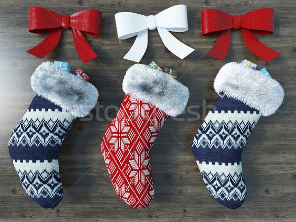 3d hermosa rojo azul Navidad calcetines Foto stock © danilo_vuletic