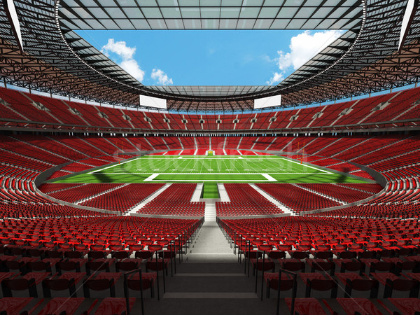 3D render of a round american football stadium with red chairs for hundred thousand people with VIP  Stock photo © danilo_vuletic