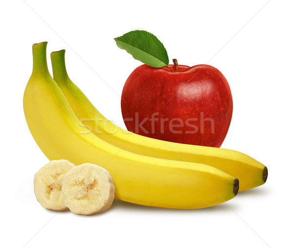 Maçã bananas isolado branco comida fruto Foto stock © danny_smythe