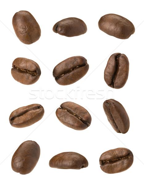 Foto stock: Grãos · de · café · isolado · branco · objeto · macro · feijão