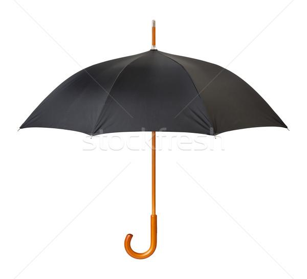 Açmak siyah şemsiye yalıtılmış beyaz yağmur Stok fotoğraf © danny_smythe