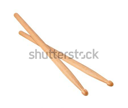 Two Wooden Drumsticks isolated Stock photo © danny_smythe