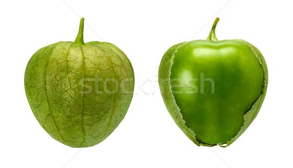 Tomatillo Pair isolated on white Stock photo © danny_smythe