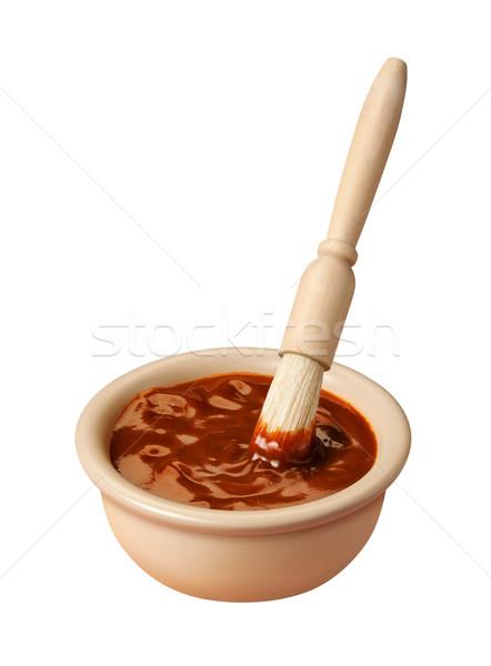 Barbekü sosu yalıtılmış makro baharat çanak Stok fotoğraf © danny_smythe