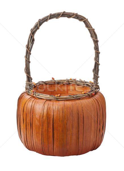 Pumpkin Basket isolated on white Stock photo © danny_smythe