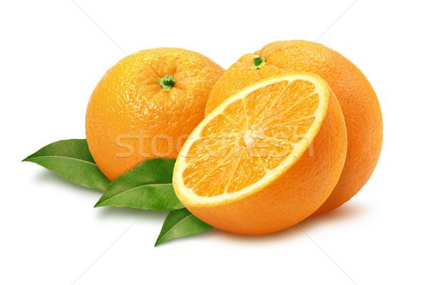 Portakal yaprakları yalıtılmış beyaz gıda Stok fotoğraf © danny_smythe