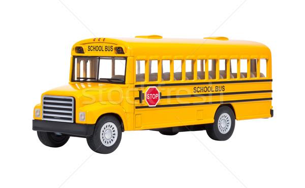 Játék iskolabusz izolált fehér diák oktatás Stock fotó © danny_smythe