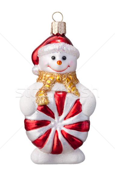 Boneco de neve ornamento isolado branco vermelho natal Foto stock © danny_smythe