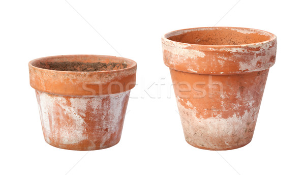 Stock photo: Two Old Flowerpots Isolated on White