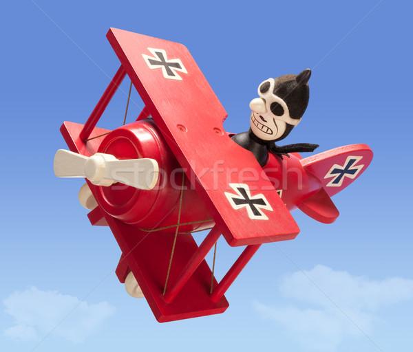 антикварная игрушку самолет изолированный небе Сток-фото © danny_smythe