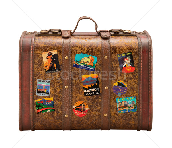 Old Suitcase Travel Stickers isolated  with a clipping path Stock photo © danny_smythe
