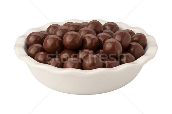 Chocolade mout geïsoleerd witte Stockfoto © danny_smythe