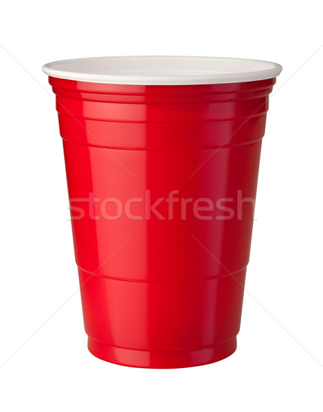 красный пластиковых Кубок изолированный белый Сток-фото © danny_smythe