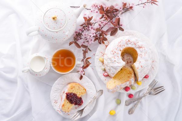 Zafferano Pasqua alimentare uovo torta piatto Foto d'archivio © Dar1930