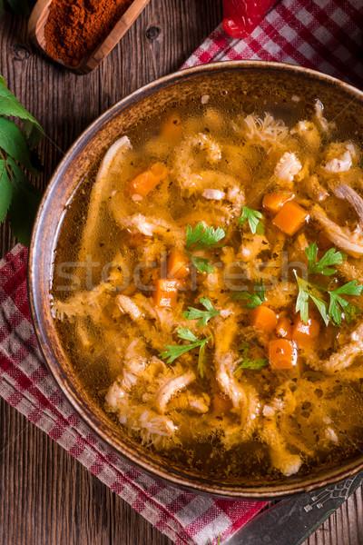 Rundvlees soep voedsel restaurant tabel brood Stockfoto © Dar1930