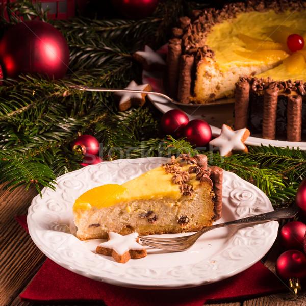 Chocolat orange cheesecake maison rouge feux d'artifice Photo stock © Dar1930