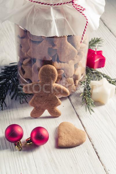 Gingerbread man gıda adam ekmek eğlence kırmızı Stok fotoğraf © Dar1930