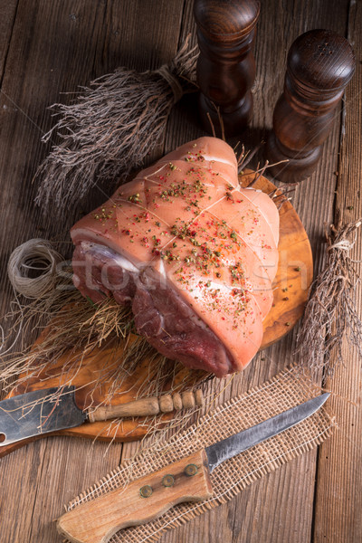 Сток-фото: сырой · деревенский · продовольствие · древесины · мяса · перец